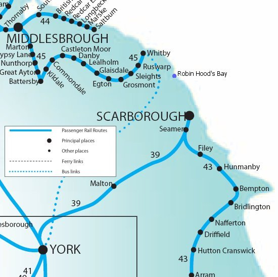 The train from Scarborough to Manchester Airport takes approximately 3 hours including the required change in York.