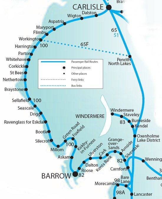 "If you are travelling from Manchester Airport you can catch a train directly to either Carlisle or Barrow-in-Furness, using the splendidly titled ""TransPennine Express"". You will need to allow at least 4 hours for this journey (including the change), as the train stops at most stations along the route."